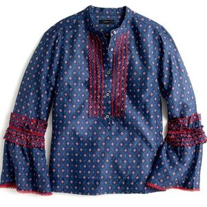 J.Crew Ludwig Embroidered Bell Sleeve Silk Blouse